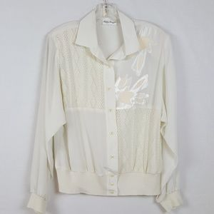 Philippe Marques Womens Cream Blouse Size 16